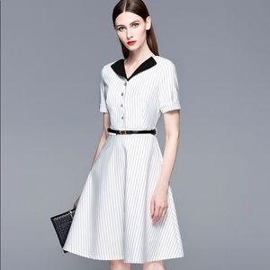 White women's short sleeves black collar dress